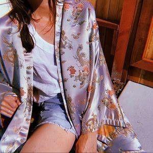 Tops - Vintage floral silk kimono